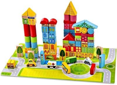 קוביות עץ לבניית עיר משחק בניה לפעוטות