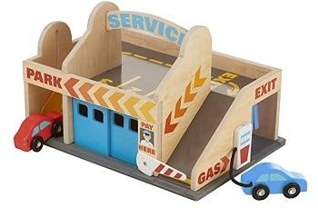 מוסך מכוניות מעץ מליסה ודאג מתנה לגיל שנתיים שלוש