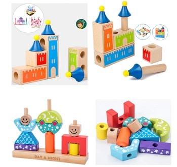 משחק התאמה קוביות מעץ לילדים
