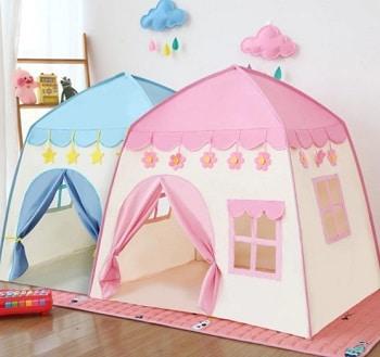 אוהל בית לחדר ילדים בצבע ורוד וצבע כחול