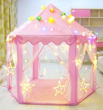 אוהל נסיכות ענק ורוד לחדר ילדים